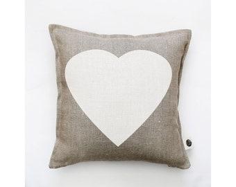 Heart pillow cover - decorative white heart pillow - heart cushion case - throw pillow - natural linen pillow covers collection  0355