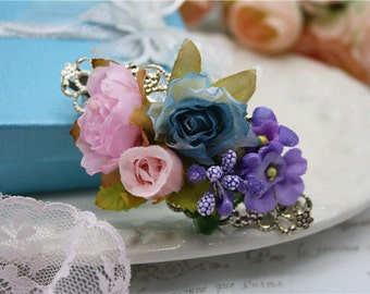 rose bouquet hairclip headpiece pink purple flower headpiece romantic filigree cottage chic accessory wedding bridal