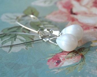 Long White Earrings, White Teardrop Earrings, White Bead Earrings, White Opal Earrings, Tear Drop Earrings, Glass Dangle Earrings, UK shop