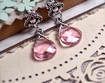 Pink Stud Earrings, Dangle Stud Earrings, Pink Crystal Earrings, Pink Bridesmaid Jewelry, Swarovski Briolette Earrings, Girlfriend Gift