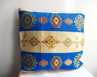 Traditional Turkish Kilim Pillow Cover , Blue and İvory Kilim Pillow Case