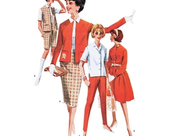 """1961 Separates Wardrobe, Rockabilly Bombshell or Pencil Skirt, Button Front Blouse, Slim Darted Capri Pants/Shorts, McCall's 6202, Bust 34"""""""