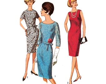 1965 Glamous Dart-fitted Shift Dress, Jewel or Bateau Neck, Sleeve Options, Designed for Lace, Eyelet or Sheers, Simplicity 5939, Bust 37""