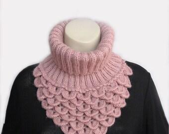 Crochet Lace Scarf Collar, Fashion Accessories, Soft Crochet Neck Warmer, Crocodile Scarf, Neck Cowl, Winter Accessories,color dark powder
