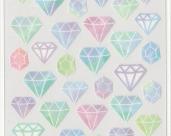Kawaii Japan sticker Sheet Assort: Masking Seal Series Watercolor Gem Stone Jewels Diamonds for Diy decorations resin crafts schedule