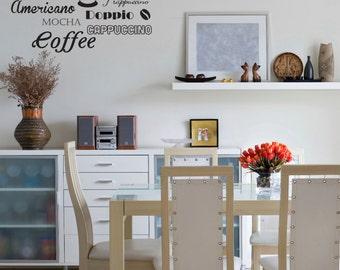 Coffee Wall Sticker Etsy - Custom vinyl wall decals coffee