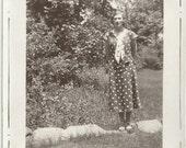 Old Photo Woman wearing Polka Dot Dress 1930s Photograph snapshot vintage