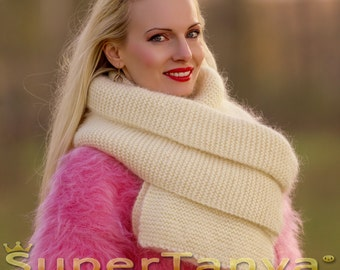 Made to order hand knit extra long fuzzy mohair scarf in black by SuperTanya