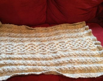 Custom Small Blanket/Lap Blanket in cable knit pattern