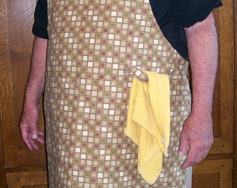 Man BBQ Apron Tan Checked Big and Tall Apron
