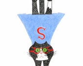 Funny Cat Cards - Superhero Black and White Cat/Tuxedo Cat