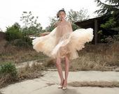 tulle skirt tulle dress  tutu skirt tulle dress charming dress tutu dress wedding dress yarn dress in color beige