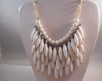 4 Row Bib Necklace with White, Gold Tone and Clear Rhinestones Dangle Pendants