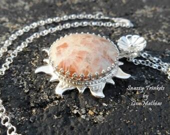 Eclipse Sunburst Necklace, Sun Necklace, Celestial Jewelry, Sun Charm, Sunstone Necklace, Sterling Silver Necklace, Ready to Ship