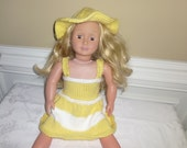 """American Girl or 18"""" Doll Summer/Summer Hand Knit Dress with Hat"""