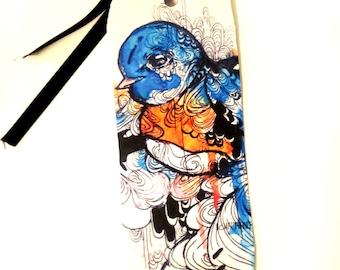 Bookmark - Blue bird art - Bird Bookmark - Art Bookmark - Book lover gift - Paper Bookmark - Paper goods - Cute Bookmark