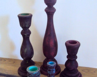 Rustic Gypsy Distressed Wood Candlestick Set - Dark Bohemian Decor - Wooden Candle Holders -5 Piece Boho Candle Set - Woodland Jewel Tones