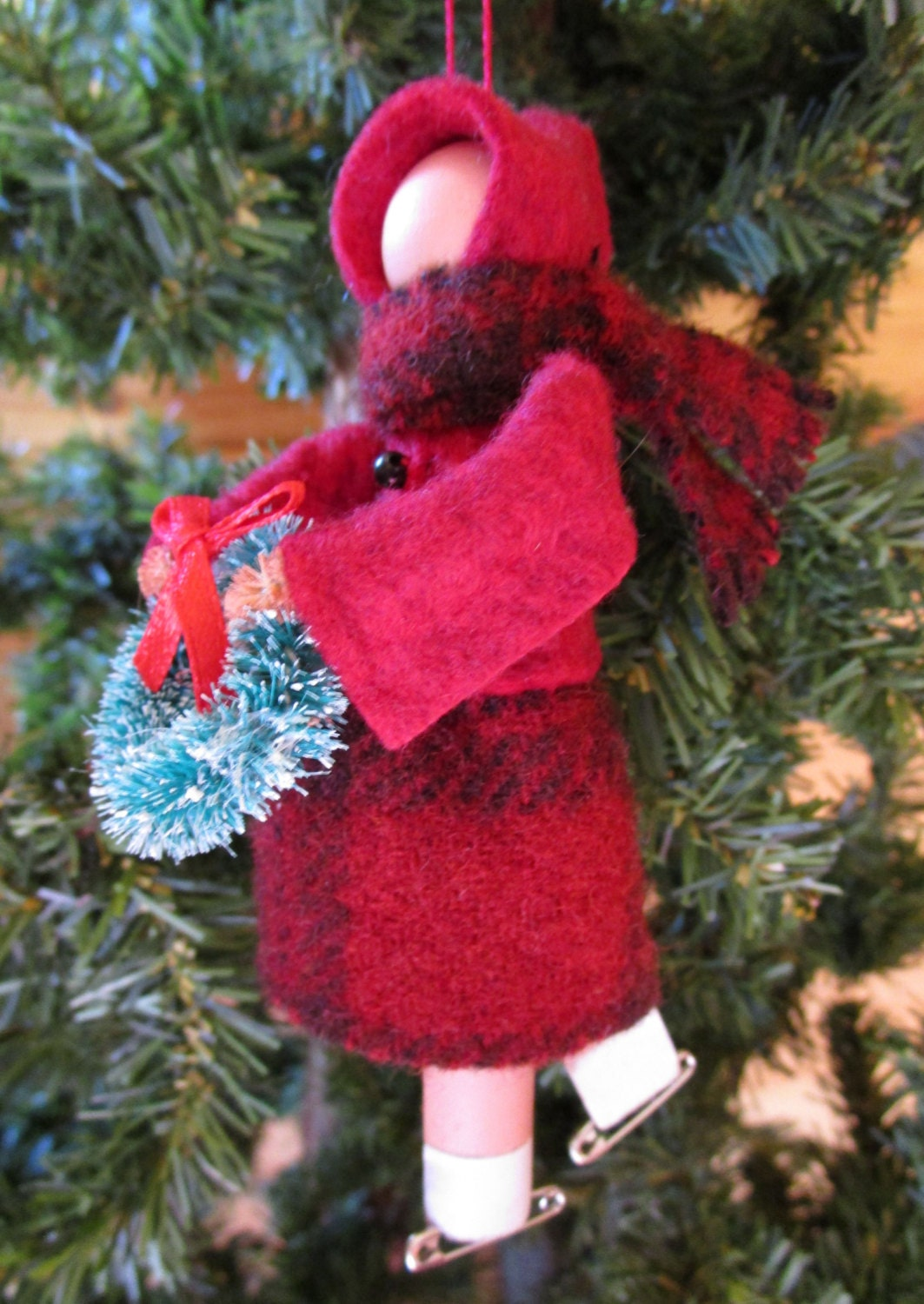 ice skater christmas ornament lady clothespin ornament