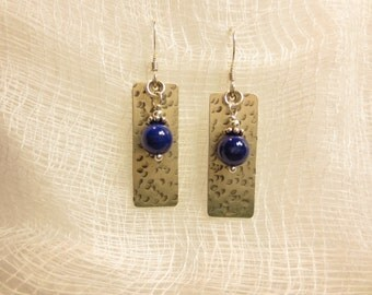 6 mm Bead & Texture #3 Dangle Earrings With Semi-Precious Stones And Fresh Water Pearls On Sterling Silver