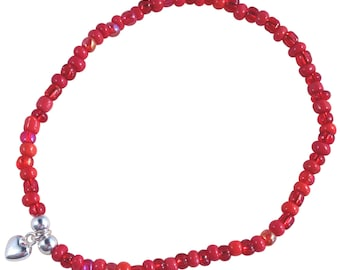 ANKLET with Small HEART Charm on Slim Glass Seed Beads Mix 9 Colour Choices