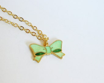Mint Green Enameled Bow Necklace