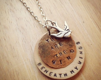 Valentine's Day Jewelry - Hand Stamped Necklace - Wind Beneath My Wings