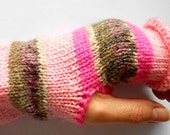 Pink Rustic Nordic Fairisle Fingerless Gloves