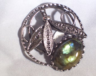 Labradorite Brooch in Antiqued Silver Mounting