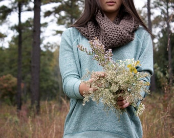 Women's Infinity Scarf in Taupe Brown / Taupe Scarf / Women's Accessories / Crocheted Winter Scarf