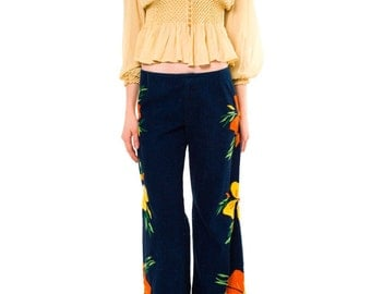 1970s Vintage  Hippy Era Hand Embroidered Jeans  Size: S/M
