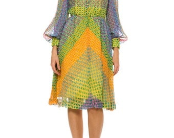 1970s Vintage Multicolored Star Patterned Dress    Size: XS