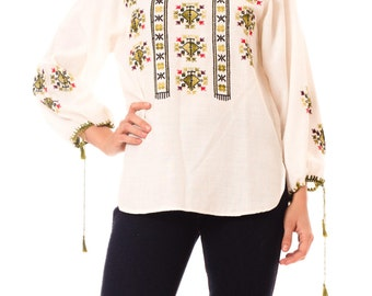 1960s Vintage Earthy Embroidered Top  Size: S/M