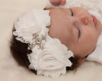 Off White Baptism Infant/Toddler Headband with Cross