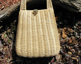 Vintage British Hong Kong Plastic-Coated Straw Purse - 1960's - from DustyMillerAntiques