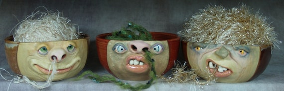 YARN BOWL - regular - Wheel thrown, hand altered and sculpted. Just a friendly face to join you while you knit or crochet.
