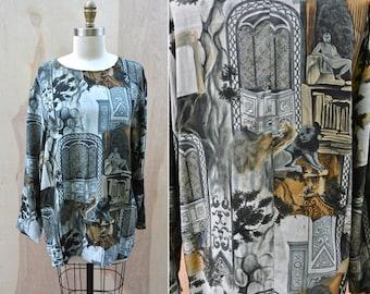 SILK Carol LITTLE Printed Blouse Gorgeous Silk Tunic Blouse Top Mediterranean Grecian Greece Print Long Sleeves Boho size 8 S - M