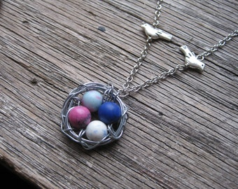 Four Egg Bird Nest Pendant or Bird Nest Necklace: Pinks and Blues, Bird Nest Jewelry for Mother's Day