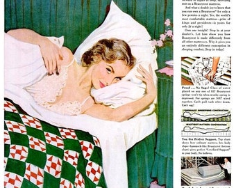 1951 Coby Whitmore Pin Up Simmons Beautyrest Mattress Bedroom Wall Art Decor Sexy Lady American Housewife Schick Razor Shaver Advertisements