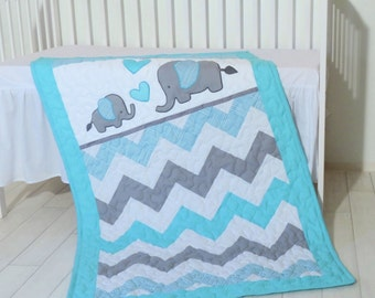 Chevron Baby Quilt, Elephant Patchwork Crib Blanket, Organic Child Bedding