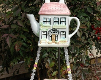Little Pink House Teapot with Hanging Leaf Bird Feeder for Birds and Bees Whimsical Outdoors Garden