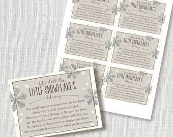 baby it's cold outside book request insert card - neutral cocoa and silver snowflakes - instant download