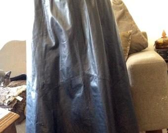 VINTAGE 1980s Genuine Black LEATHER MAXI Skirt