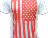 Red American Flag T Shirt - American Apparel Graphic Tee for Men & Women