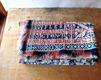 Antique Wool Jacquard Coverlet, Vintage Wool Blanket, Overshot Coverlet, Vintage Linens, Red Blue Blanket, Antique Throw, Antique Bedding