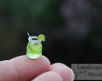 Miniature Rustic Mason Jar Drink LIMEADE, SANGRIA, or Ice WATER for your Beach Scene or Wedding Cake Topper - by Landscapes In Miniature