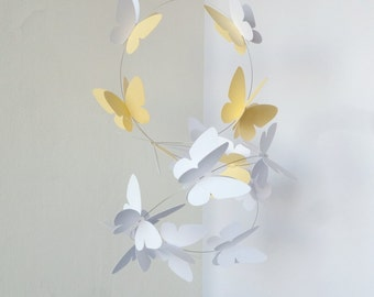 Butterflies Mobile / Garland on wire, Hanging mobile, Home decor