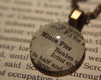Mince Pie Christmas Necklace (bronze) - With Vintage 1940s baking instruction for a Mince Pie - For a baking fan
