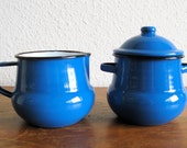 Blue Enamelware Cream & Sugar Set