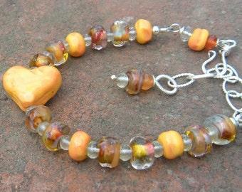 Gemstone and Lampwork Bangle Bracelet // Sterling Silver  // Bohemian Bracelet // Heart Bracelet // Refined Bohemian Jewelry