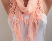 Salmon Spring Summer Scarf - Lace Scarf Cotton Scarf Cotton Scarf Fashion Women Accessories Mother's Day Gift For Her for Mom DIDUCI
